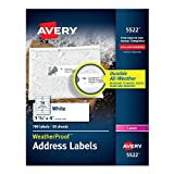 Avery WeatherProof Mailing Labels, TrueBlock Technology, Laser, White, 1-1/3 x 4, Pack of 700 (5522)