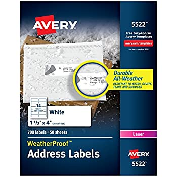 Amazon Avery Weatherproof Mailing Labels Trueblock Technology