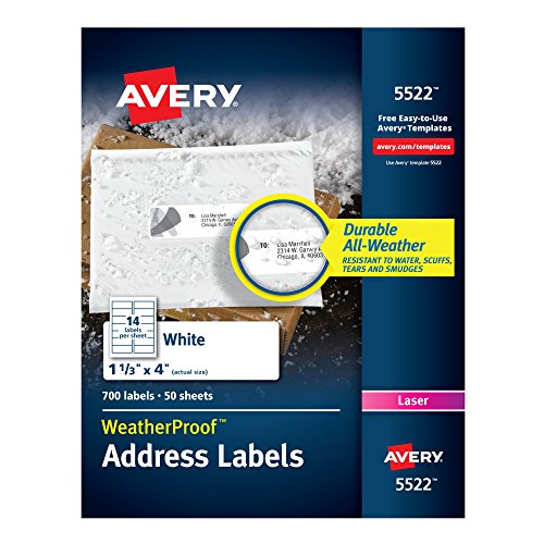 (Avery WeatherProof Mailing Labels, TrueBlock Technology, Laser, White, 1-1/3 x 4, Pack of 700 (5522))