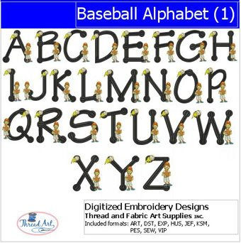 Baseball Embroidery Designs - Machine Embroidery Designs - Baseball Alphabet(1)