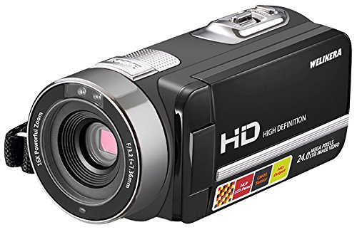 "WELIKERA Camera Camcorder, Remote Control Handy Camera, IR Night Vision Camcorder, HD 1080P 24MP 16X Digital Zoom Video Camcorder with 3.0"" LCD and 270 Degree Rotation Screen"