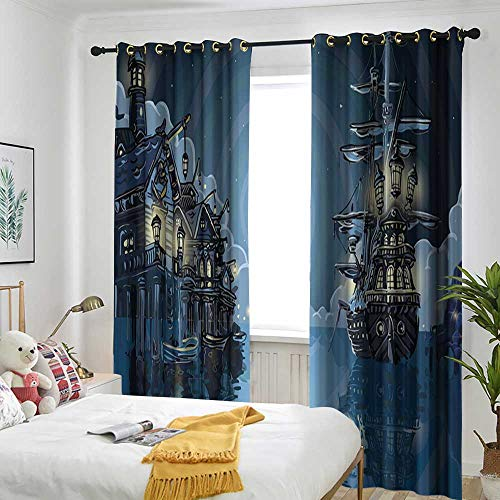 TRTK Curtains Insulation Cable Ring Curtain 2 Panel Cover Pirate,Fantasy Adventure Island Faery Mystery Ships Pirate Cove Bay Swirled Moon Rays,Blue White ()