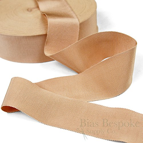 (3 Yards of Vera 2'' Cotton & Viscose Petersham Grosgrain Ribbon, Tawny Peach, Made in Italy)