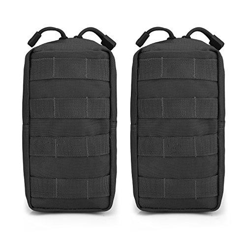G4Free 2 Pack Tactical Molle Pouches Compact Utility EDC Waist Bag Pack Small Gear Gadget for Chest Vest Tactical Backpack(Black)
