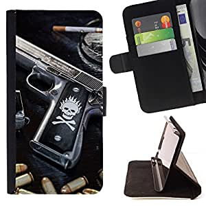For HTC One M8 SKULL KILLER GANGSTA GUN & BULLETS Beautiful Print Wallet Leather Case Cover With Credit Card Slots And Stand Function
