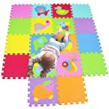 MQIAOHAM Children Puzzle mat Play mat Squares Foam Play mat Tiles Baby mats for Floor Puzzle Puzzle mat Childrens Soft Play mats Girl playmat Carpet Interlocking Foam Floor mats for Baby
