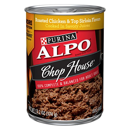 - Purina ALPO Wet Dog Food; Chop House Roasted Chicken & Top Sirloin Flavors  - (12) 13.2 oz. Cans