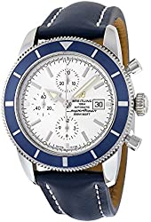 Breitling Superocean Heritage Automatic Chronograph Silver Dial Blue Leather Mens Watch A1332016-G698BLLD