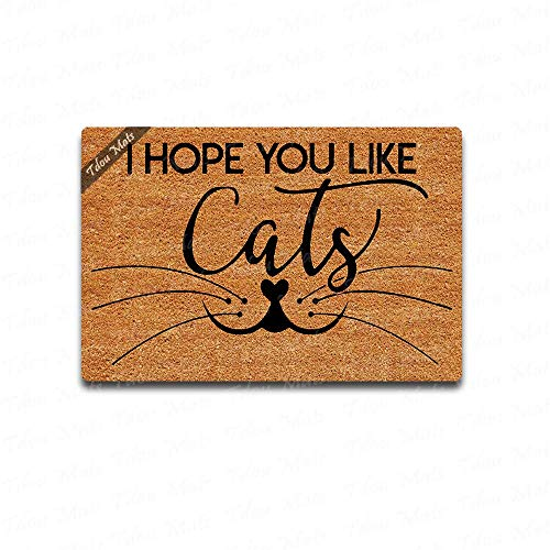 Cindy&Anne I Hope You Like Cats Doormat Funny Welcome mat Doormat Custom Home Living Decor Housewares Mat Rugs Mats State Indoor Gift Ideas 23.6 15.7 Inch