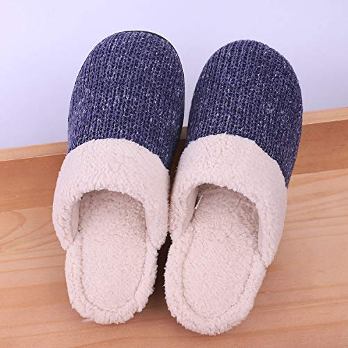 Slippers Cotton Skid Cozy Navy Shoes Blue Outdoor Anti Like House Snug Wool Indoor Leaves Knit Foam Memory Wome's tqnXOH