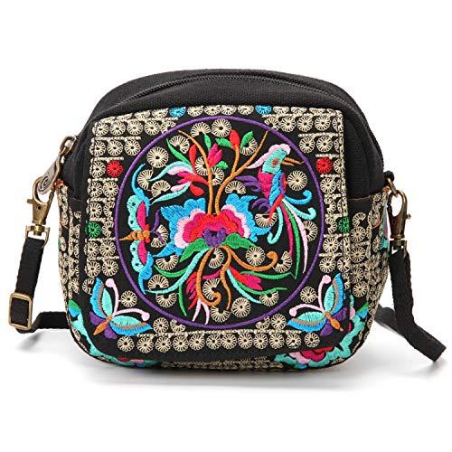 Phone Crossbody Embroidered Small for Bird Wristlet Women and Purse Flower Cell Bag Handbag ZY5qAdnrq