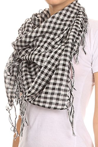 Checkered Scarf (AN1225 Fashion Plaid Scarf with Frills - Black - One Size)