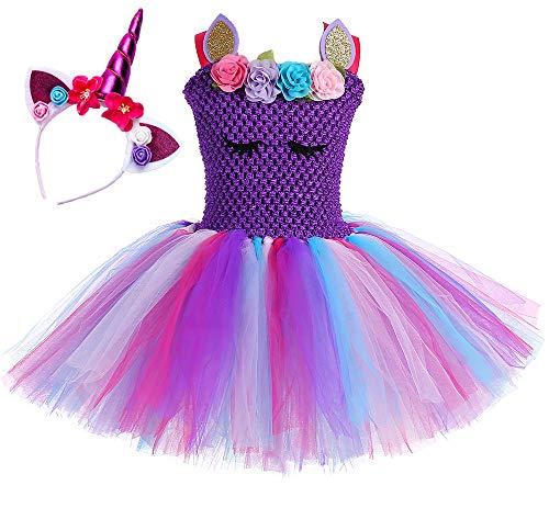 O'COCOLOUR Pony Princess Dress Toddler Girls 3-4t (Pastel Purple, Medium)