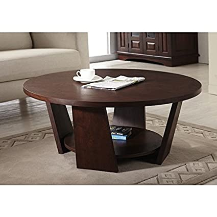 Furniture Of America U0027Amberu0027 Round Vintage Round Walnut Coffee Table