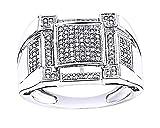 Wishrocks 14K White Gold Over Sterling Silver White CZ Square Hip Hop Men's Wedding Ring