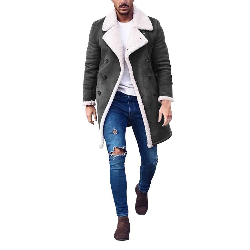 SSYUNO-men tops Mens Wool Lined Trench Coat Warm Winter Slim Fit Long Pea Coat Jacket Long Wool Blend Jacket Overcoat Gray by SSYUNO-men tops