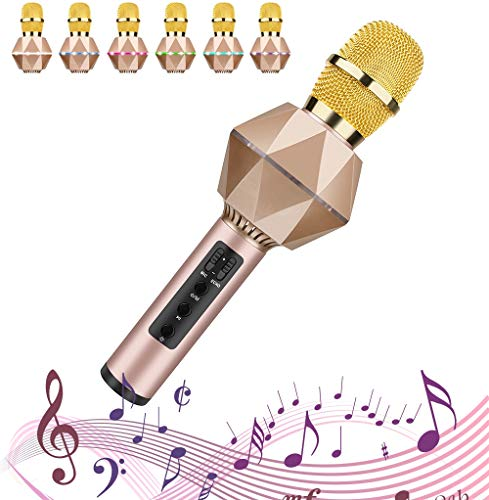 SHENGY Bluetooth 5.0 capacitive Stereo Microphone, 7 Color led Heart-Shaped Pickup Karaoke, Built-in 10W Speaker, DSP Noise Reduction chip, for All Kinds of Mobile, APP,Gold ()