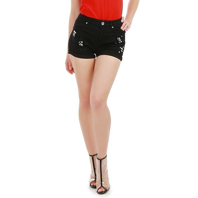 La Modeuse - Pantalón corto - para mujer negro Small  Amazon.es  Ropa y  accesorios bdba57d964b7