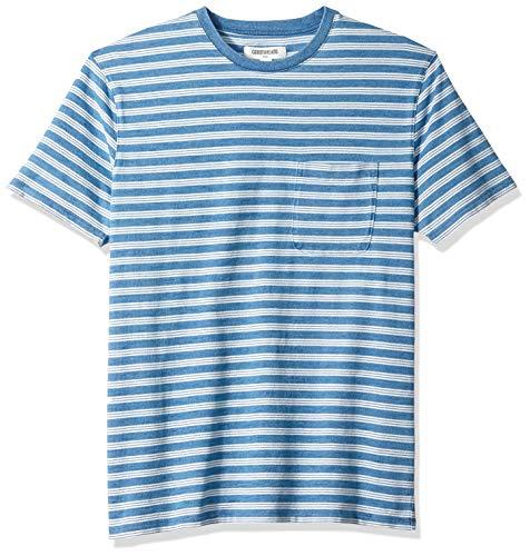 Goodthreads Men's Short-Sleeve Indigo Crewneck Pocket T-Shirt, Light Triple Stripe, Medium Tall