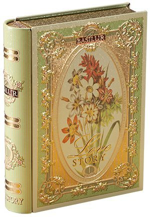 Tea Story Collection - Basilur, Love Story Collection, Tea Book Volume I, Green Tea with Natural Sunflower, Cornflower & Bergamot, Collectable Metal Caddy, Loose Leaf Tea, Great Gift