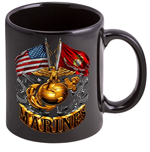 Coffee Cup with Double Flag Gold Globe USMC - Stoneware Mug, Patriotic Gifts