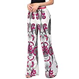 Summer Ankle Pants,Han Shi Women's Fashion Sexy Print High Waist Wide Leg Long Trousers (M, Hot Pink)