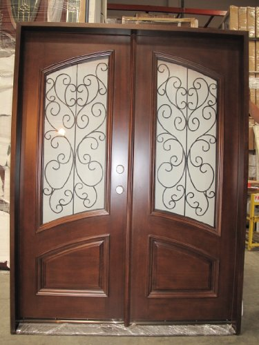 HOLIDAY SALE! + FREE SHIPPING FEE!!! Double Front Entry Door Unit Pre-hung & Finished w/ Iron with Frosted Glass, DMH7619-5 LH--HIGHEST QUALITY