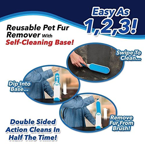VJ Pet Hair Remover Brush,Clean Dog &Cats Fur Remover,Plastic Double-sided Clean Lint Brush for Pets/Family/Sofa/Clothes,Furniture Travel Hair Brush by VJ (Image #8)