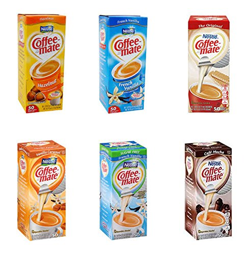 Coffee Mate Liquid .375oz Variety Pack (6 Flavors) 300 Count - With River Finn Breath Mints