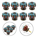 FINROS Pack of 8 NEW Version Ceramic Pumpkin Cabinet Knobs Cupboard Drawer Pull Handle/Great for Cupboard, Kitchen and Bathroom Cabinets, Shutters (Blue Leopard Grain)