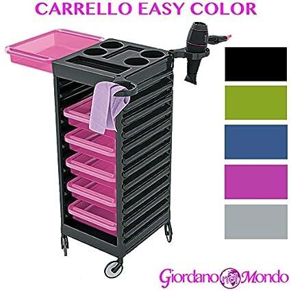 Carro para peluquería y barbería Almacenamiento Puerta secador Tijeras Peine Tinte Cabello Easy Color Ceriotti profesional