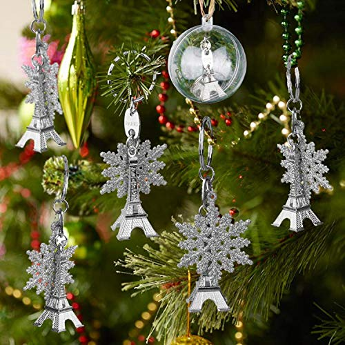 TSG GLOBAL 50 Set Christmas Tree Decorations Hanging Ornaments Eiffel Tower Keychain and Snowflakes Wedding Favors and Gifts ()