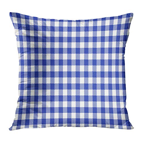 Emvency Throw Pillow Covers Pattern Blue and White Italian Checkered Picnic Table Country Abstract Custom Square Size 18 x 18 Inches Home Decor Pillowcases Cushion