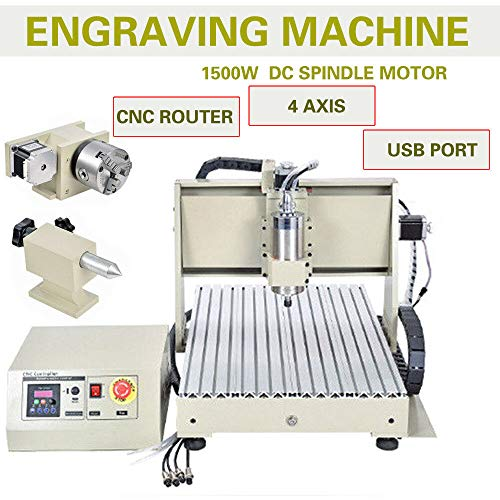 ZHFEISY Engraving Machines – 4 Axis USB 1.5KW VFD 6040 CNC Router Engraver Engraving Drilling Milling Carving Machine 3D Cutter Desktop With RC For【Soft Metal/Aluminum/Copper/Silver/Gold/Wood/Plasti】