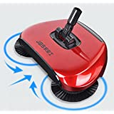 Household 360 Rotary Hand Push Sweeper Broom Without Electricity Home Use Manual Floor Dust Sweeper Red