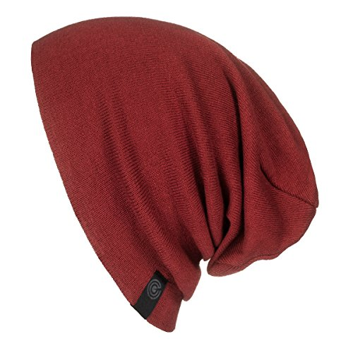Warm Slouchy Beanie Hat - Deliciously Soft Daily Beanie in Fine Knit Maroon One Size (Dwarf Hats)