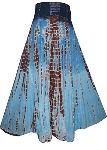 Agan Traders 61 SK Cotton Tie Dye Gypsy Skirt (Medium, Blue Brown)