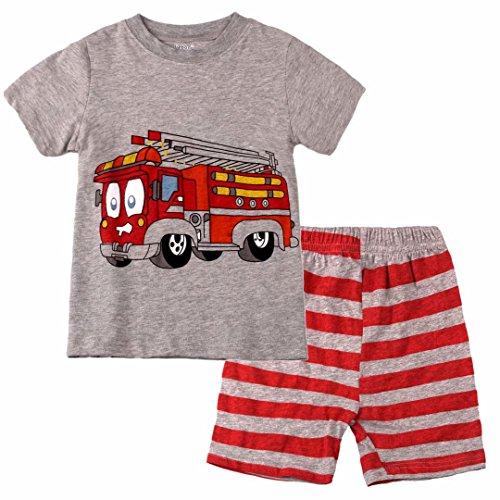 Dizoon Big Boys Fire Truck Short Sleeve Pajamas Sets Kids Pjs 100% Cotton 2 Pieces Gray 7-8 Year