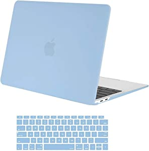 MOSISO MacBook Air 13 inch Case 2020 2019 2018 Release A2179 A1932 with Retina Display, Plastic Hard Shell Case & Keyboard Cover Only Compatible with MacBook Air 13 with Touch ID, Airy Blue