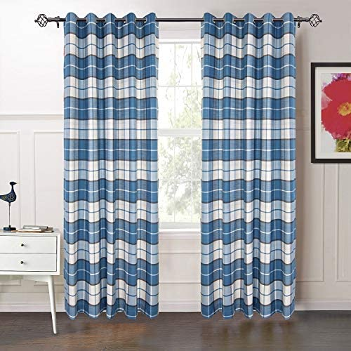 IYUEGO 72 W x 84 L One Panel , Classic Country Plaid Jacquard Grommet Top Curtains Draperies with Multi Size Custom