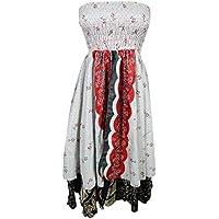 Mogul Womens Holiday Dress Recycled Vintage Silk Sari Two Layer Boho Long Skirt