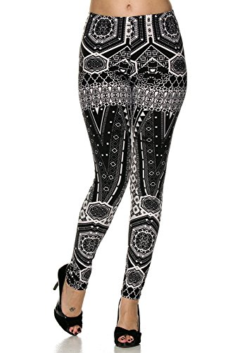 Lot Womens Plus Size Queen Wet Shiny Metallic Leggings Tight Pants O/S XL 2 X 3X(Queen Plus Size Tribal Black White)