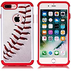 iPhone 6S Plus Case, Baseball Sports Pattern Shock-Absorption Hard PC and Inner Silicone Hybrid Dual Layer Armor Defender Protective Case Cover for Apple iPhone 6S Plus/iPhone 6 Plus