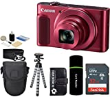Canon PowerShot SX620 HS 20.2MP Digital Super 25x Optical Zoom Camera (Red) + SanDisk 32GB Card + Case + Tripod - 32GB Deluxe Accessories Bundle