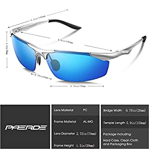 PAERDE Men's Sports Style Polarized Sunglasses for Men Driving Fishing Cycling Golf Running Al-Mg Metal Frame Ultra Light Glasses (Silver frame&Ice blue lens)