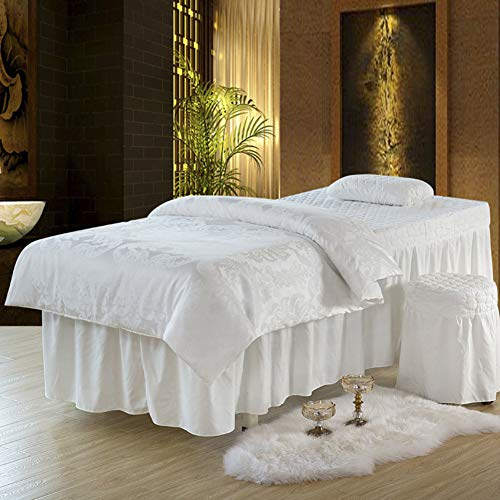 (YXLHJ Skin-Friendly Massage Table Skirt Beauty Bed Cover,Four-Piece Pillowcase Stool Cover Beauty Facial Bedding Solid Beauty Salon Bed Cover-g 190x80cm(75x31inch))