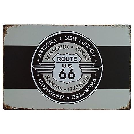 MARQUISE & LOREAN Ruta 66 Decoración Pared | Placa Decorativa Vintage Route | Cartel Chapa Póster (Blanco y Negro, 20 x 30 cm)
