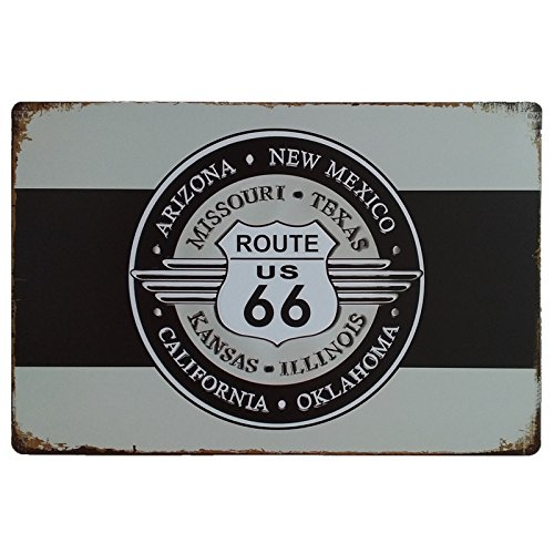 MARQUISE & LOREAN Ruta 66 Decoración Pared | Placa Decorativa Vintage Route | Cartel Chapa Póster (Blanco y Negro, 20 x 30 cm)