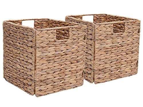 StorageWorks Wicker Storage Basket, Fordable Hyacinth Storage Baskets, Medium,10.2