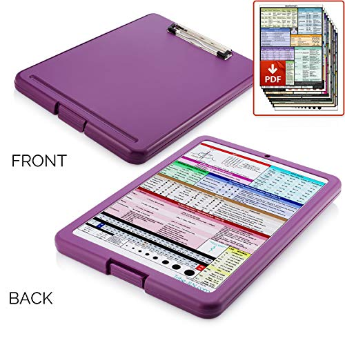 (Nursing Clipboard with Storage by Tribe RN with Quick Access Medical References - Includes Downloadable Cheat Sheets - (Nurse Clipboard Purple))